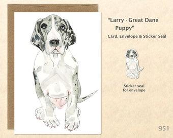 Great Dane Puppy Card Dog Card Cute Animal Card Customizable Blank Note Card Watercolor Art Card Greeting Card