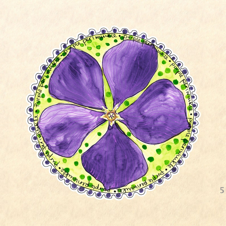 Flower Stickerw Purple Flower Stickers Periwinkle Sticker image 0
