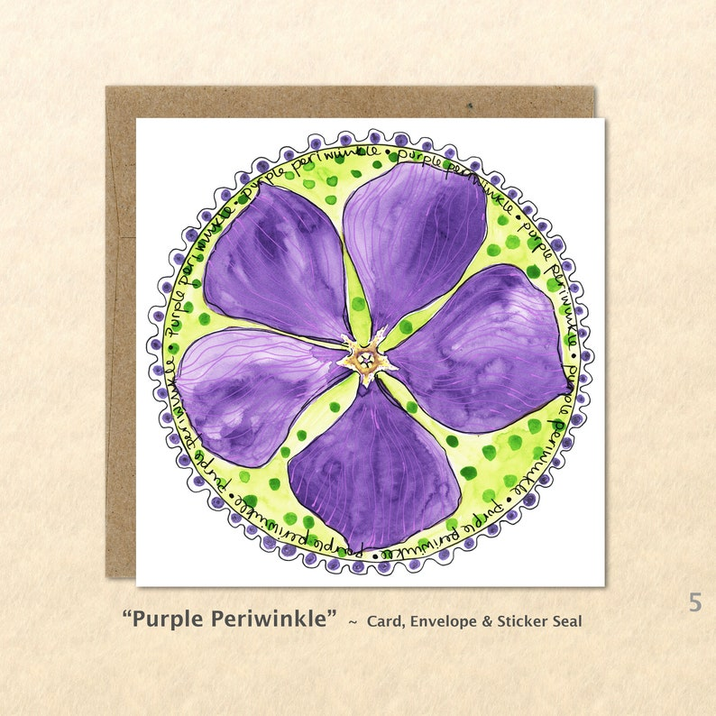 Flower Cards Periwinkle Cards Purple Flowers Floral Cards image 0