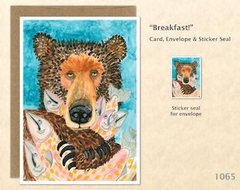Bear with Salmon Note Card Bear Card Customizable Blank Note Card Wildlife Card Watercolor Art Card Greeting Card