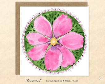 Floral Cards, Cosmos Cards, Flower Cards, Garden Cards, Gardening Cards, Blank Note Card, Art Cards, Greeting Cards