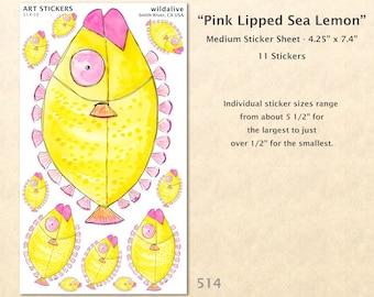 Fish Stickers Silly Fish Stickers Fun Fish Stickers Wacky Fish Stickers Beach Stickers Nautical Stickers Scrapbook Sticker Art Sticker