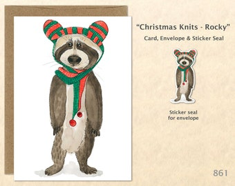 Christmas Card Rocky Racoon Dressed for Christmas Holiday Note Card Blank Watercolor Card Art Card Note Card
