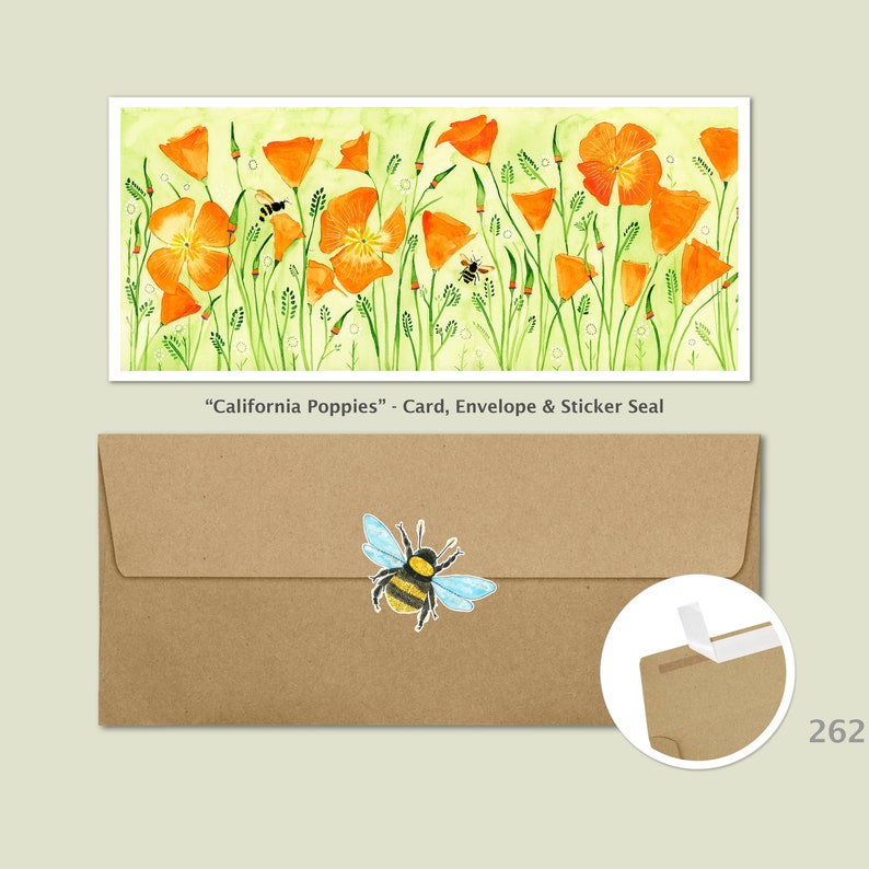 California Poppies and Bees Note Card Floral Cards Flower image 0