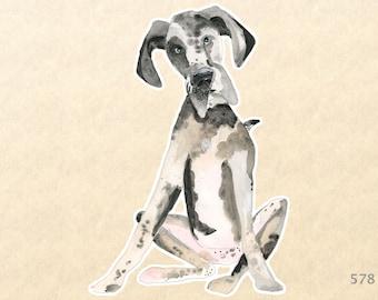 Dog Stickers, Great Dane Sticker, Cute Animal Stickers, Fun Animal Stickers,  Water Bottle Sticker, Scrapbook Stickers, Macbook Decal
