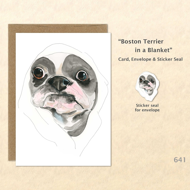 Boston Terrier Note Card Fun Dogs Cute Dogs Blank Note image 0