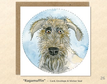 Irish Wolfhound Cards, Dog Cards, Dog Note Cards, Fun Dog Cards, Cute Dog Cards, Blank Note Cards, Art Cards, Greeting Cards, Square