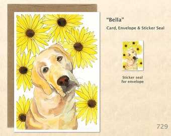Golden Lab Note Card Lab and Sunflowers Greeting Card Customizable Watercolor Art Card Blank Note Card
