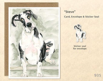 Great Dane Card Dog Note Card Cute Animal Card Fun Dog Card Blank Note Card Watercolor Art Card Greeting Card Customizable Note Card