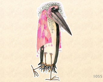 Howard the Stork Wearing a Shawl Sticker Bird Sticker Watercolor Art Water Bottle Sticker Scrapbook Sticker
