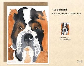 St Bernard Dog Note Card, Dog Cards, St Bernard Cards, Blank Note Card, Art Cards, Greeting Cards