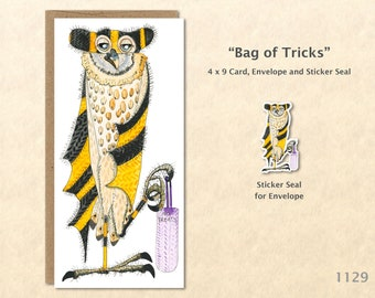 Owl with Bag of Tricks Dressed for Halloween Note Card Customizable Blank Note Card Watercolor Art Card Greeting Card