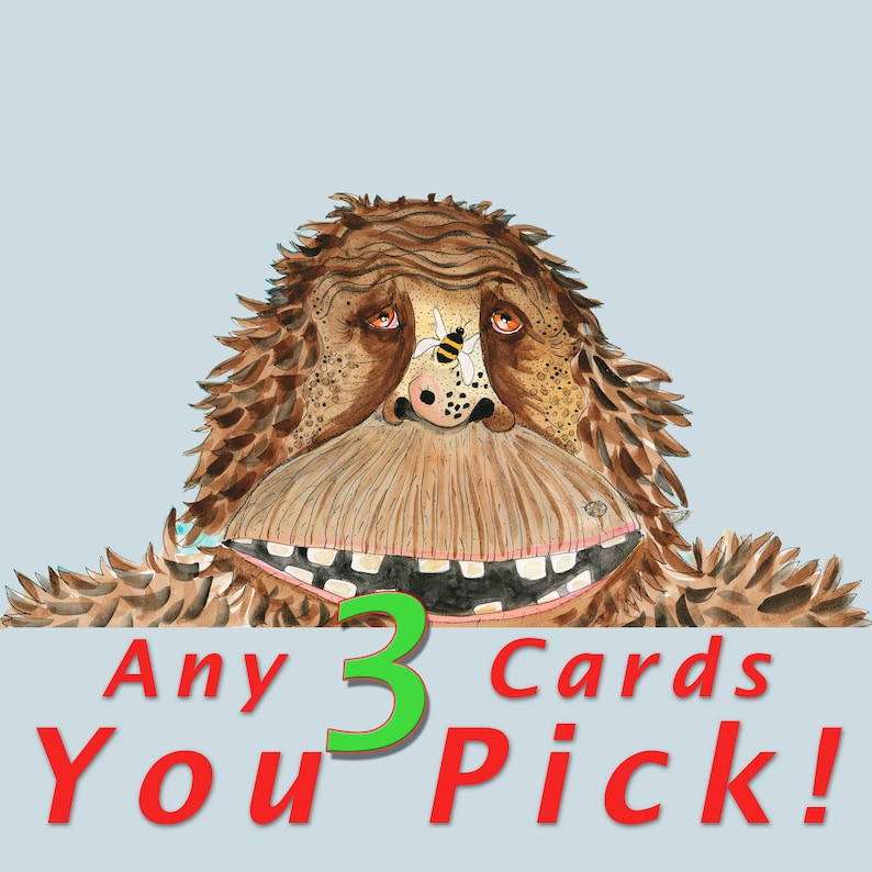 Blank Note Card 3 Pack Your Choice  Choose Any 3 Cards image 0