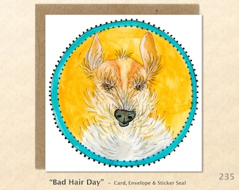 Bad Hair Day, Dog Cards, Dog Note Cards, Fun Dog Cards, Cute Dog Cards, Blank Note Cards, Art Cards, Greeting Cards, Square
