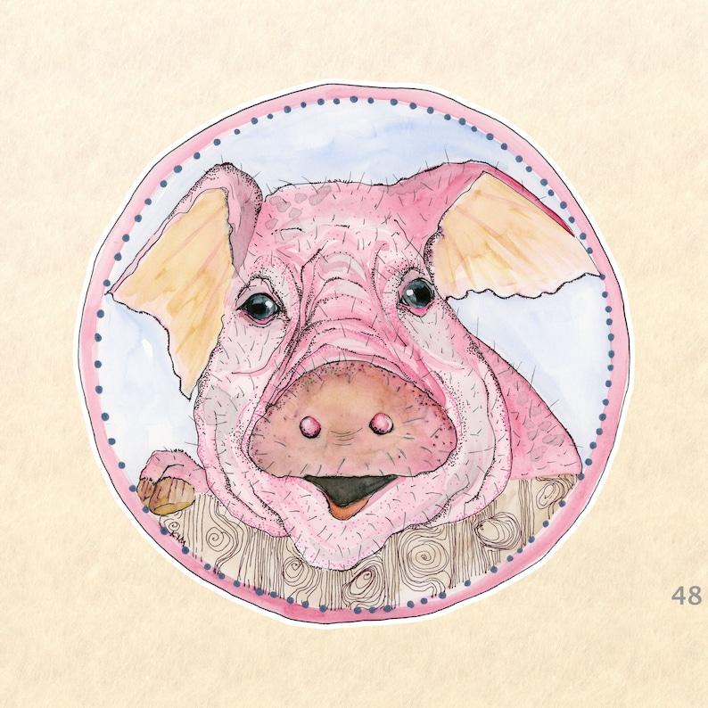 Pig Stickers Farm Animal Stickers Cute Animal Stickers Fun image 0