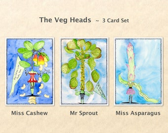 Veg Heads, Silly Cards, Garden Cards, Food Cards, Wacky Cards, Fun Cards, Blank Note Card, Art Cards, Greeting Cards