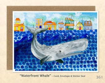 Whale at the Waterfront Note Card, Whale Cards, Blank Note Card, Art Cards, Greeting Cards