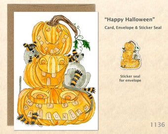 Rats Playing on a Stack of Jack-o-Lanterns Greeting Card Customizable Watercolor Art Card Blank Note Card