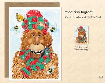 Scottish Bigfoot Card Christmas Bigfoot Blank Note Card Watercolor Art Cards Customizable Greeting Cards