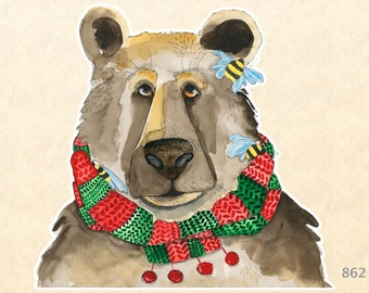 Bear Wearing a Christmas Scarf Sticker Gift Wrapping Sticker Laptop Stickers Water Bottle Stickers Scrapbook Stickers