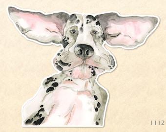 Floppy Eared Great Dane Sticker Cute Dog Sticker Watercolor Art Water Bottle Sticker Scrapbook Sticker Macbook Decal