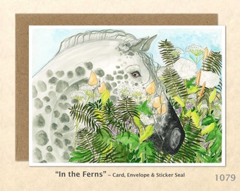Horse in the Ferns Note Card Customizable Blank Note Card Watercolor Art Card Greeting Card
