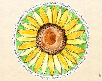 Sunflower Sticker, Flower Stickers, Floral Stickers, Garden Stickers, Decorative Stickers, Water Bottle Stickers, Scrapbooking Stickers