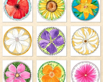 Floral Card Set 9 Garden Flower Cards Red Poppy Sunflower Lily Clematis Periwinkle Daisy California Poppy Cosmos  Aster Watercolor Art Cards