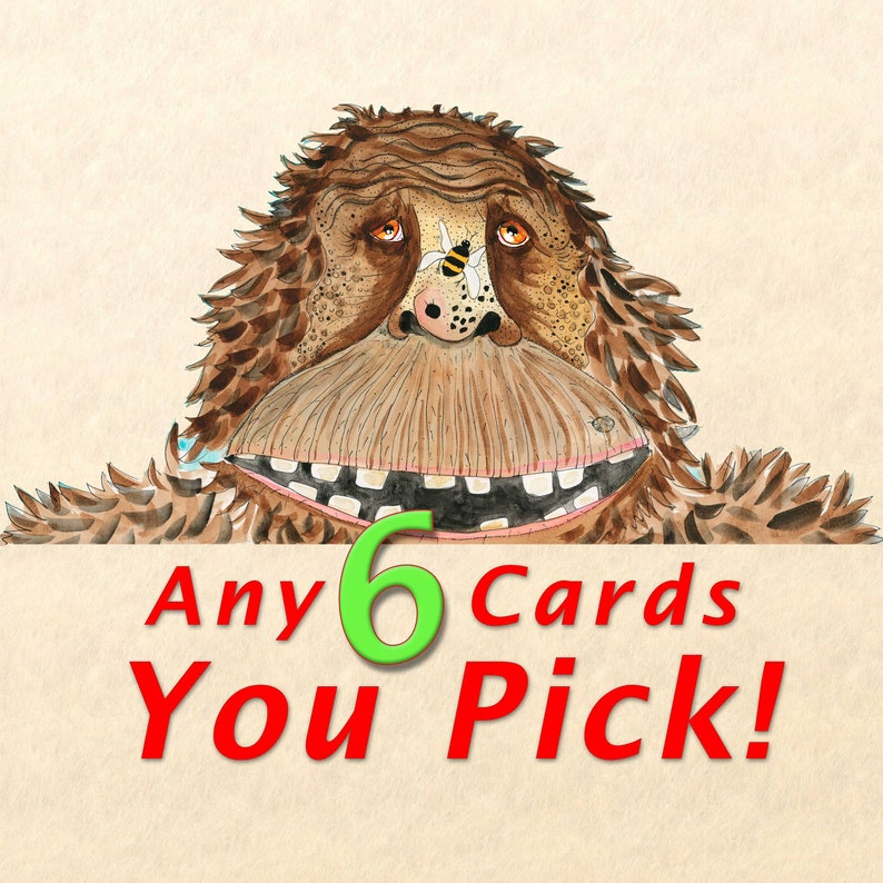 Blank Note Card 6 Pack Your Choice  Choose Any 6 Cards image 0