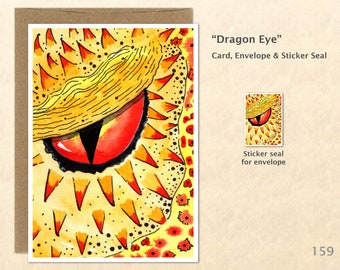 Dragon Eye Note Card, Dragon Cards,  Blank Note Card, Art Cards, Greeting Cards
