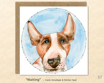 Bull Terrier Card Dog Card Dog Greeting Cards Fun Dog Cards Blank Note Cards Art Cards, Square