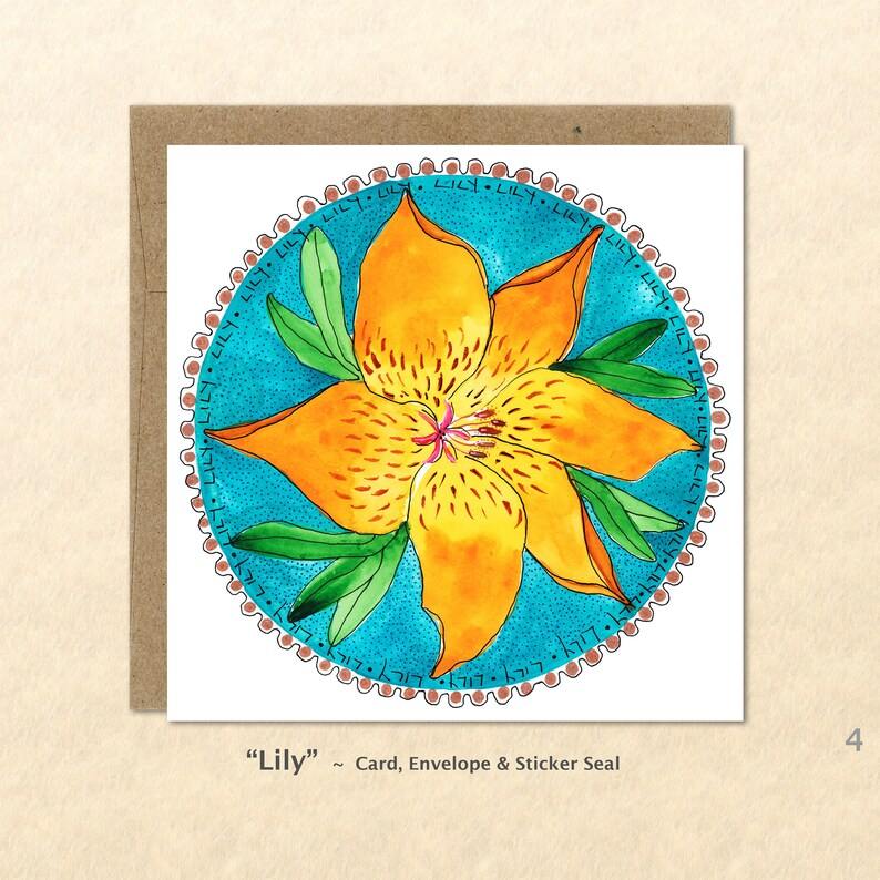 Flower Cards Lily Cards Golden Flower Cards Yellow Flower image 0
