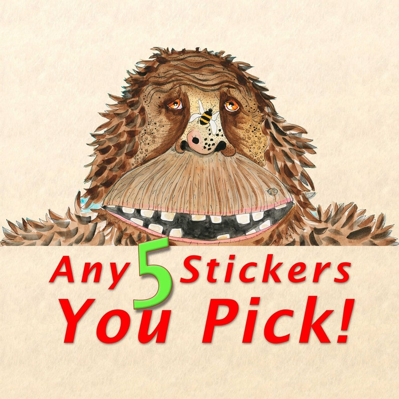 Sticker Pack  Choose Any 5 Stickers Fun Stickers Cute image 0