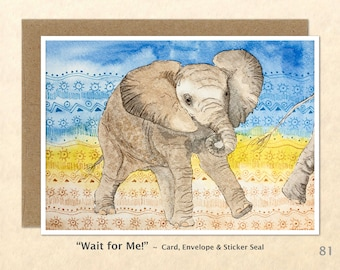Baby Elephant Card, Cute Animal Cards, Baby Animal Cards, Art Cards, Greeting Cards