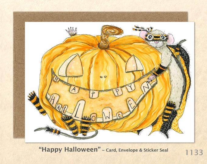 Happy Halloween Jack O Lantern Card Pumpkin Greeting Card Customizable Watercolor Art Card Blank Note Card