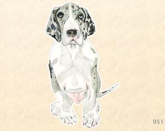 Great Dane Puppy Sticker Cute Dog Sticker Watercolor Art Water Bottle Sticker Scrapbook Sticker iPhone Android Phone Macbook Decal