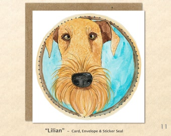 Airedale Cards, Dog Note Cards, Airedale Note Cards, Dog Cards, Blank Note Cards, Art Cards, Greeting Cards, Square