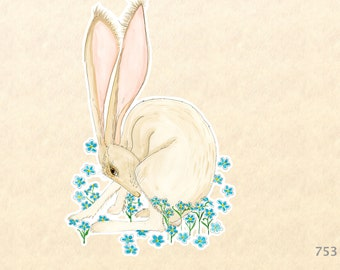 Hare and Blue Flowers Sticker Rabbit Sticker Bunny Sticker Decorative Sticker Water Bottle Sticker Scrapbooking Sticker Macbook Decal