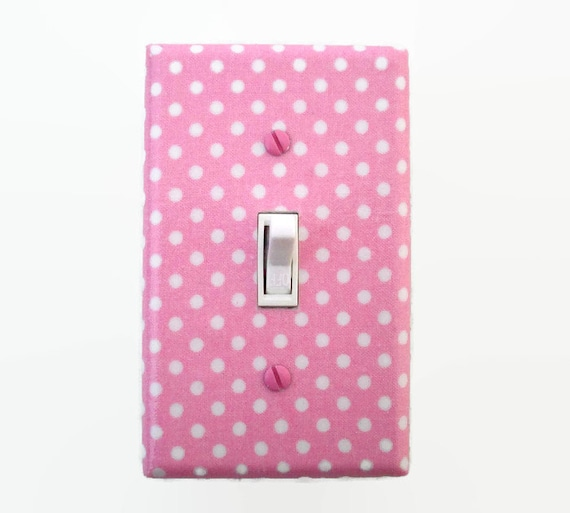 Polka Dot Pink Light Switch Cover Girls Nursery Decor Pink Etsy