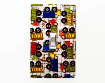 Truck Light Switch Cover - Boys Switch Plate - Construction Truck Bedroom