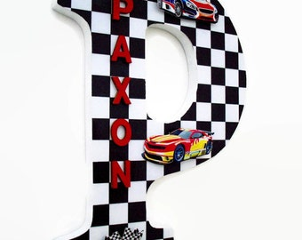 Racing Cars Wood Letter   Boys Race Car Wall Letter   Car Nursery Decor    Gift