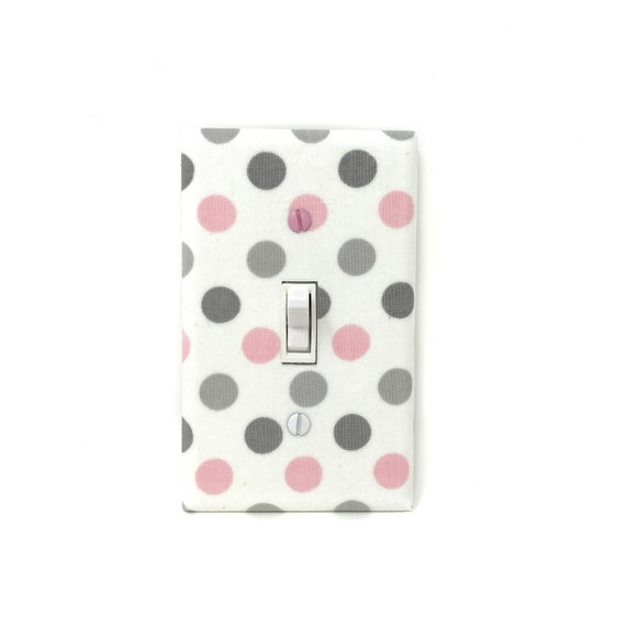 Polka Dots Light Switch Plate Pink And Grey Nursery Decor Etsy