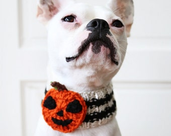 Custom Jack-O-Lantern Dog Neck Warmer - Dog Scarf - Pet Clothing - Dog Clothing - Dog Gift - Pumpkin Accessories - Halloween Dog Costume