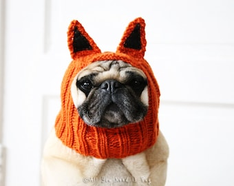 Fox Dog Hat - Fantastic Little Fox Hat by All You Need is Pug® - Pug Hat - French Bulldog Hat - Dog Clothing - Handmade Gift for Pet Lovers