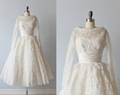 1950s Wedding Dress / 50s Tea Length Wedding Dress / Lace and Tulle / Long Sleeves / Fern