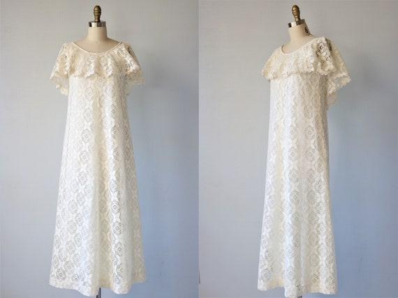 Lace Maxi Dress Boho Wedding Dress 1970s Liberty H