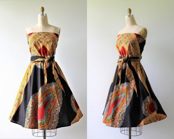 Vintage 1950s Tribal Hawaiian Bali Wrap Dress Cott