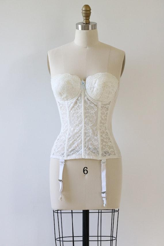 Vintage White Bustier Corset 1950's Lace - image 2