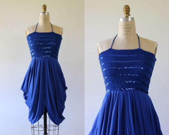 Sequin Halter Top Dress 1980s