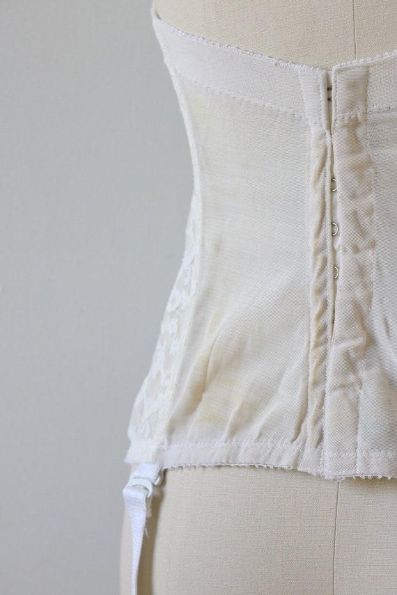 Vintage White Bustier Corset 1950's Lace - image 5